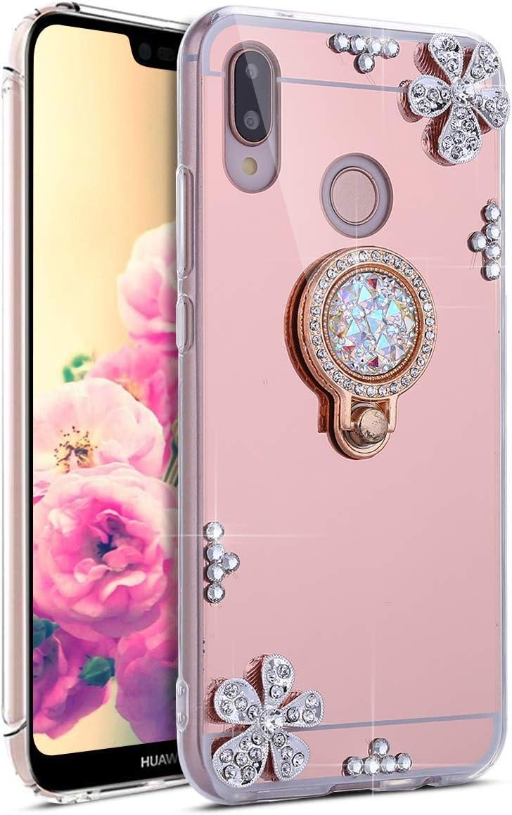 Brillante Anti-Scratch Silicona Carcasa Bring Flores con Anillo Brillantes Cristal Diamante Espejo Funda para Huawei P20 Lite,Oro JAWSEU Funda Huawei P20 Lite Huawei P20 Lite Carcasa Funda
