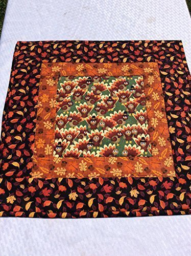 Thanksgiving Turkeys Table Topper Novelty Fall Patchwork Acorns Leaves Handmade Quilt Squares Table Runner Centerpiece