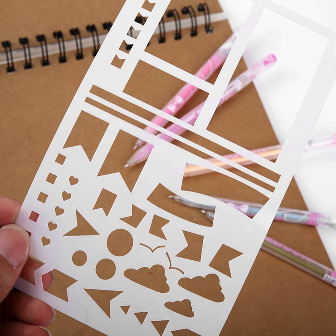plastique Planner Pochoirs Carnet Scrapbooking DIY Gabarit de dessin 655387056777 Winkey papeterie