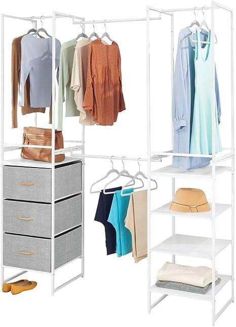mDesign Modular Closet Organizer System, Storage Unit, Sturdy Steel Frame, 3 Fabric Drawer Bins, 4 Garment Racks, 5 Shelves for Bedroom, Hallway, Entryway, Closet, Textured Print - Gray/White best closet shelving system