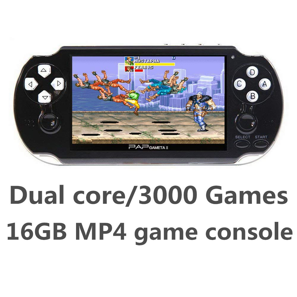 CZT Dual core 4.3 inch Handheld Game Console Video Game Console 16GB Built in 3000 CPS/NEOGEO/GBA/GBC/GB/SFC/MD/FC/SMS/GG Games MpS Player DV DC (Black) by CZT (Image #3)
