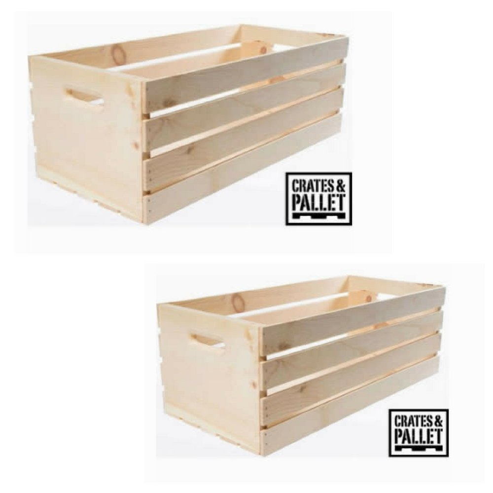 Extra Convenience Extra Large Wood Crate Natural Finish – SET of 2