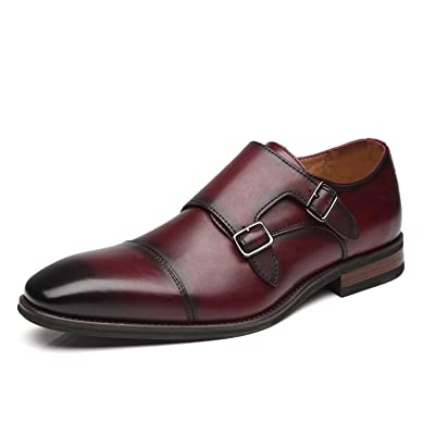 La Milano Mens Double Monk Strap Slip on Loafer Cap Toe Leather Oxford Formal Business Casual Comfortable Dress Shoes for Men | Loafers & Slip-Ons