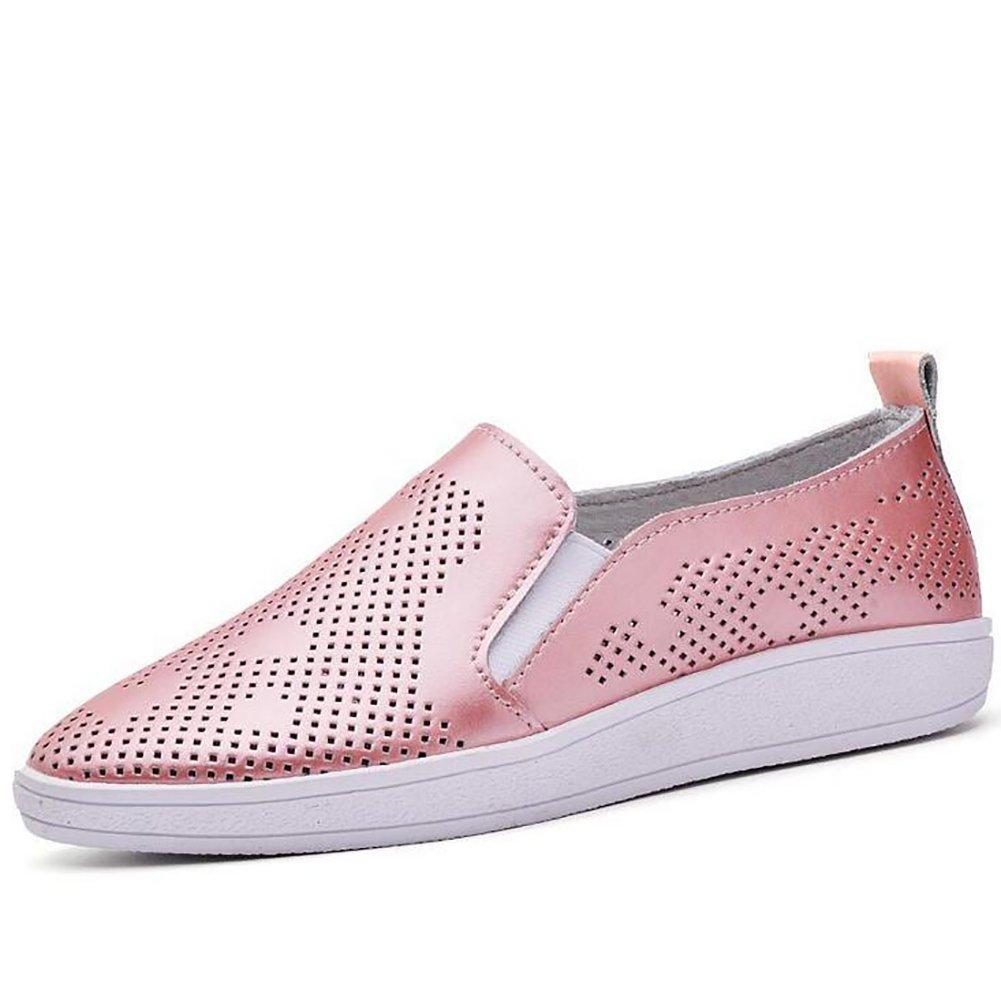 SHANGXIAN Sommer Dicker Boden Sandalen Beilauml;ufig Aushouml;hlen Einfach Flache Schuhe Damen Echtleder Schuhe,Pink,US5.5/EU36/UK3.5/CN35  US5.5/EU36/UK3.5/CN35|Pink