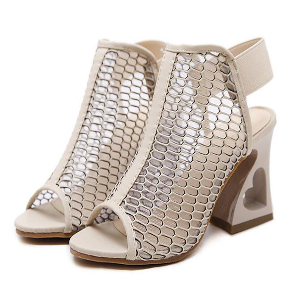 GAOLIXIA Frauen Frauen Frauen Schuhe mit hohen Absätzen Sommer Fisch Mund Schuhe rau mit hohlen Mesh Sandalen Roman Schuhe Schuhe schwarz Aprikose Rosa 82d19c