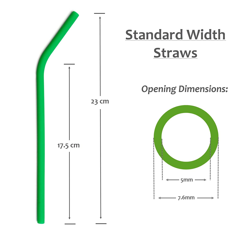 Amazon Reusable Silicone Straws BPA Free x6 STANDARD