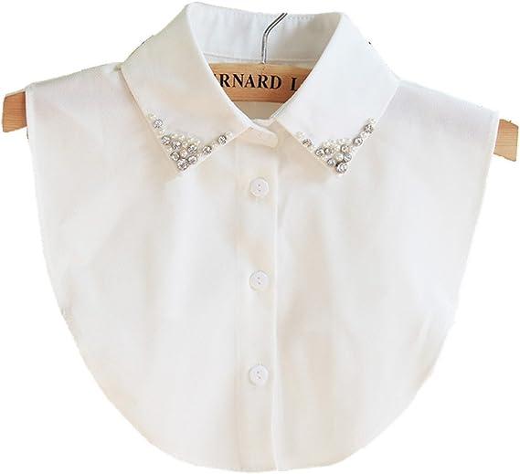 Hanmorla Handmade Perlage Amovible avec Strass et Perle Coton Faux Col Demi Chemisier Femme