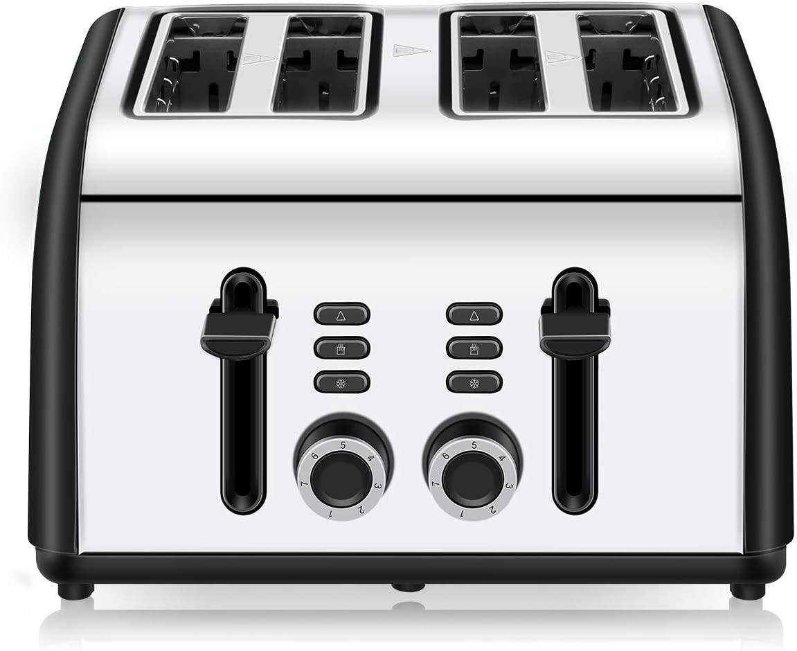 4 Slice Toaster, CUSINAID Black Stainless Steel Toasters 4 Slice Best Rated Prime with Reheat Defrost Cancel Function, 7 Shade Setting, Wide Slots Retro Toaster