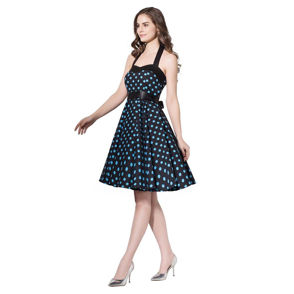 6641e6cc4e3 FiftiesChic Halter Neck 100% Cotton Polka Dot Floral 50s Vintage Rockabilly  Swing Dress at Amazon Women s Clothing store
