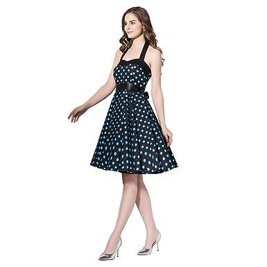 90c5c9585a41 FiftiesChic Colored Halter 100% Cotton 50s Vintage Rockabilly Swing Dress  (Small, Black Blue