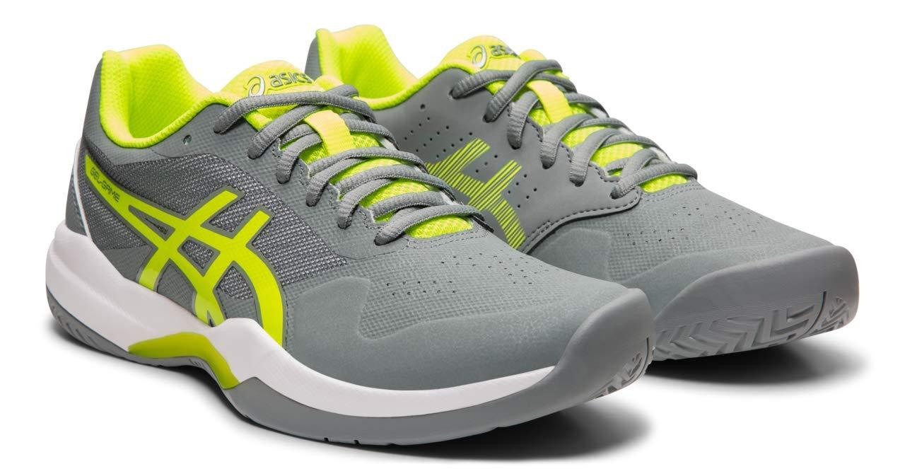 ASICS Gel-Game 7 Women's Tennis Shoe, Stone Grey/Safety Yellow, 6 M US