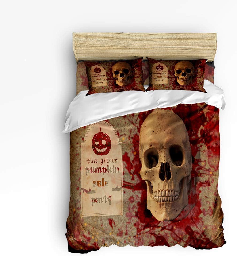 Trendier Full 4pcs Duvet Cover Set Bedding Sets Home Decor,Horror 3D Skull Halloween Design Bed Sheet Set,Include 1 Flat Sheet 1 Duvet Cover and 2 Pillow Cases