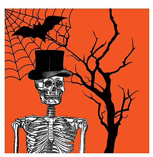 Creative Converting 656861 18 Count Beverage Napkins, Spooky Scenes, Orange/Black -