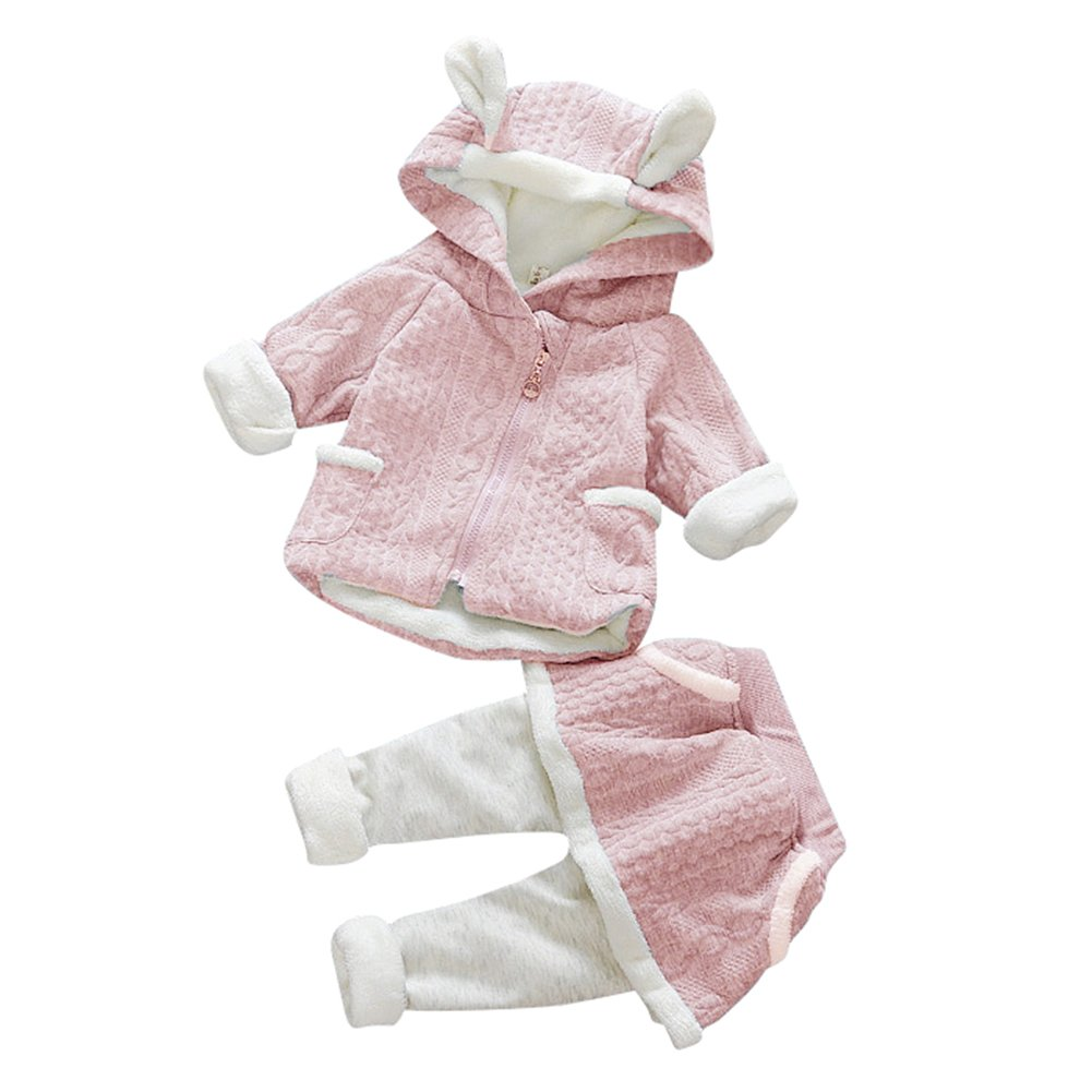 Neonata Bambina Ragazzi Coniglio Cartoon Abiti Caldi Vestiti di Lana con Cappuccio Set Top Azzurro/70cm