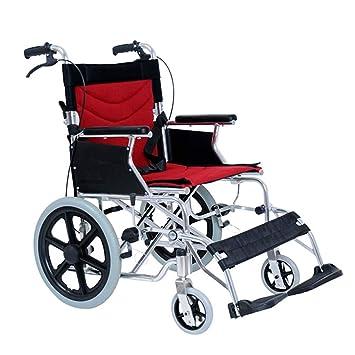 DPPAN Transporte médico manual Silla de ruedas Plegado ligero, aleación de aluminio resistente y reposapiés