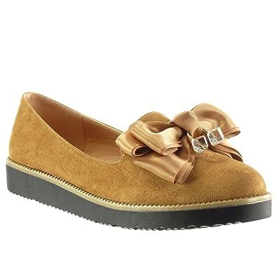 Angkorly - Zapatillas de Moda Mocasines slip-on mujer pajarita joyas Talón Plataforma 2.5 CM: Amazon.es: Zapatos y complementos