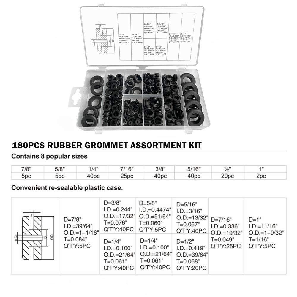 Cables 180pcs Rubber Grommet Assortment Kit Plugs 8 Different Sizes Conductive Gasket O-Ring Set Suitable for Maintenance Wires etc