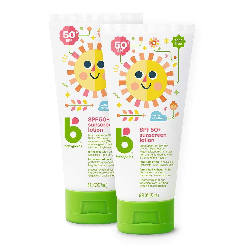 Babyganics Sunscreen Lotion 50 SPF, 6oz, 2 Pack, Packaging May Vary by Babyganics