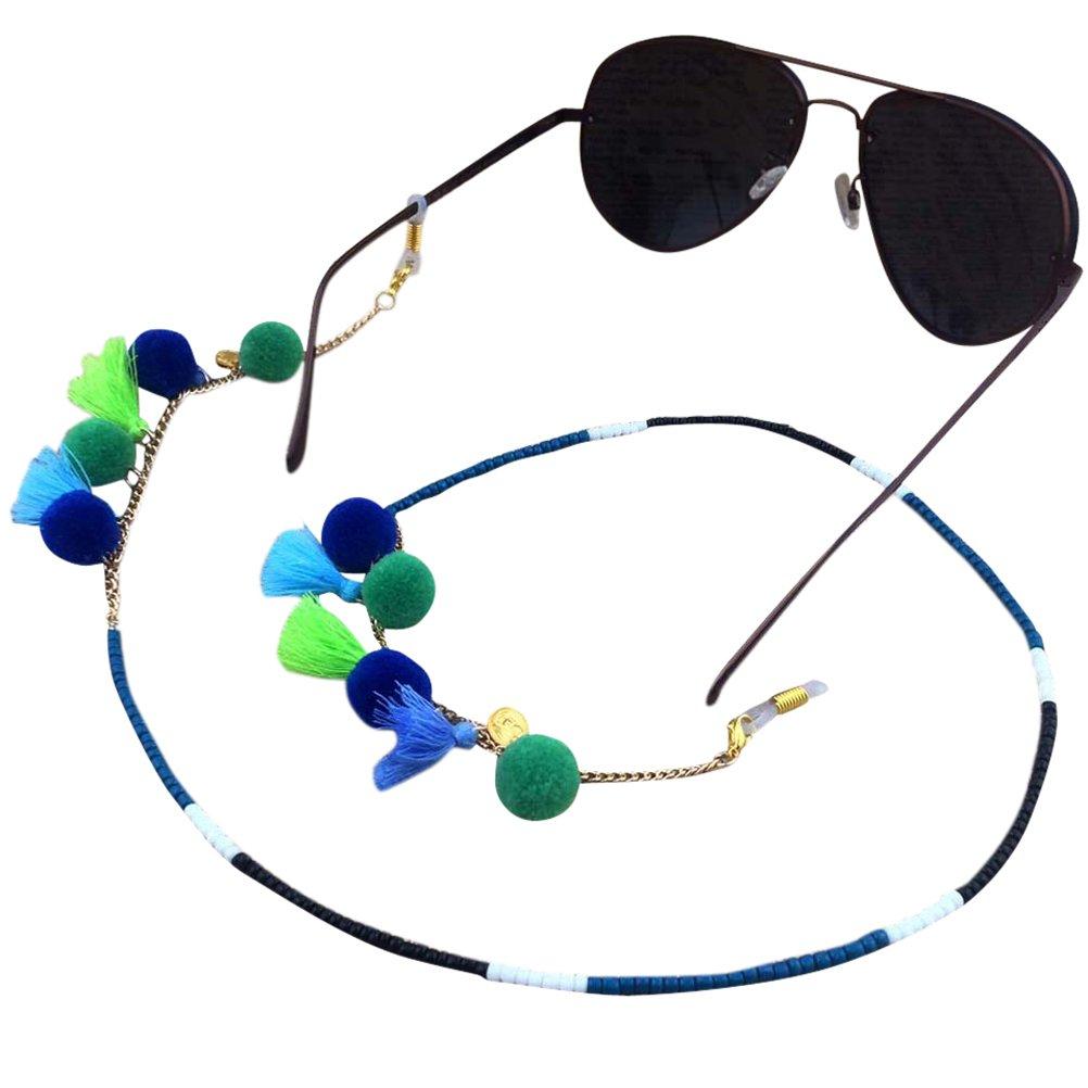 Ababalaya Vintage Strap Anti-Skid Eyeglass Cord Metal Sunglasses Thin Chain (206Blue)
