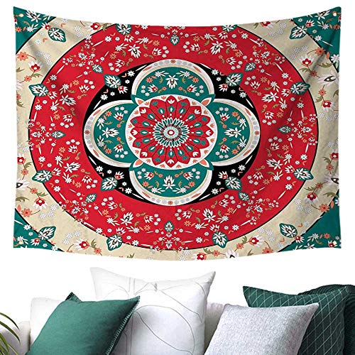 (WilliamsDecor Turkish Pattern Tapestry for Dorm Circles with Little Pink Blossoms Traditional Floral Design Spring Inspired Gift for Sheet/Blanket 72W x 54L Inch Multicolor)