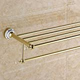 Znzbzt bathroom towel rack blue-and-gold ceramic bath towel rack bathroom towel rack towel rack, gold blue enamel crystal head bath towel rack