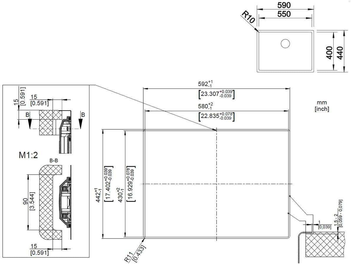 Fregadero BLANCO CLARON 550-IF//N Fregadero encastrado bajo encimera, Rectangular, Acero inoxidable, Acero inoxidable, 1 senos, Rectangular