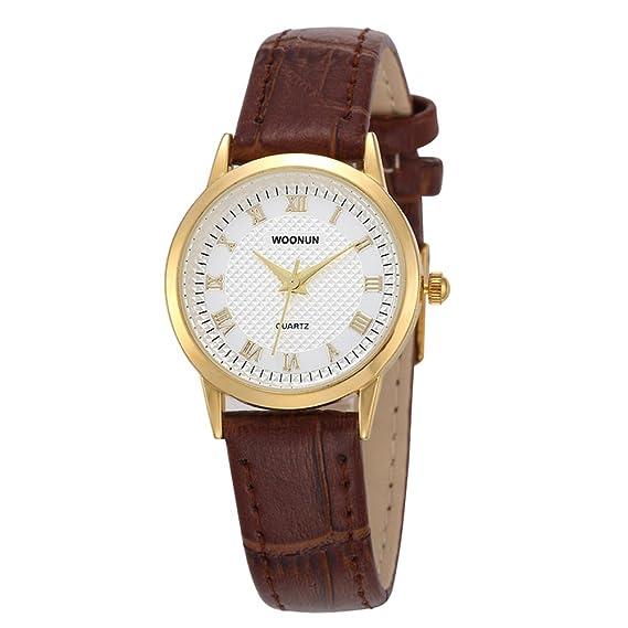 woonun mujeres relojes marca de lujo roma dial correa de cuero Analog cuarzo reloj de pulsera Relojes de moda: Amazon.es: Relojes