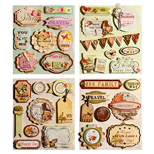 FaCraft 3D Stickers for Scrapbook,Travel and Our Family,31 Pieces Assorted Colors/Designs For Kinds of Themes Discount Scrapbook Stickers
