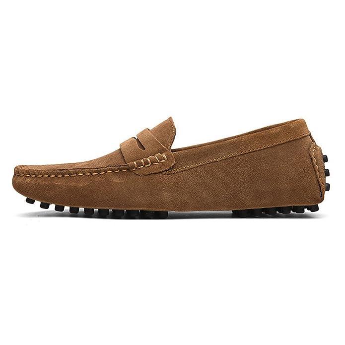 cczz Hombre Clásica Tipo mocasín Suave Comfort Ante Loafers Guantes Toque Minimalista Mesa Planas conducción Guantes Boot Slippers 38 - 49 EU, Color Marrón, ...