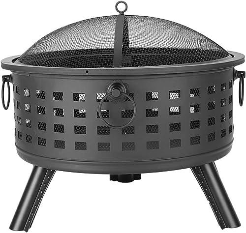 QIANQBKN 26 Round Lattice Fire Pit Bowl, Outdoor Wood Burning, Iron, 3 Legs, for Patio, Backyard, Fireplace Poker Black Black