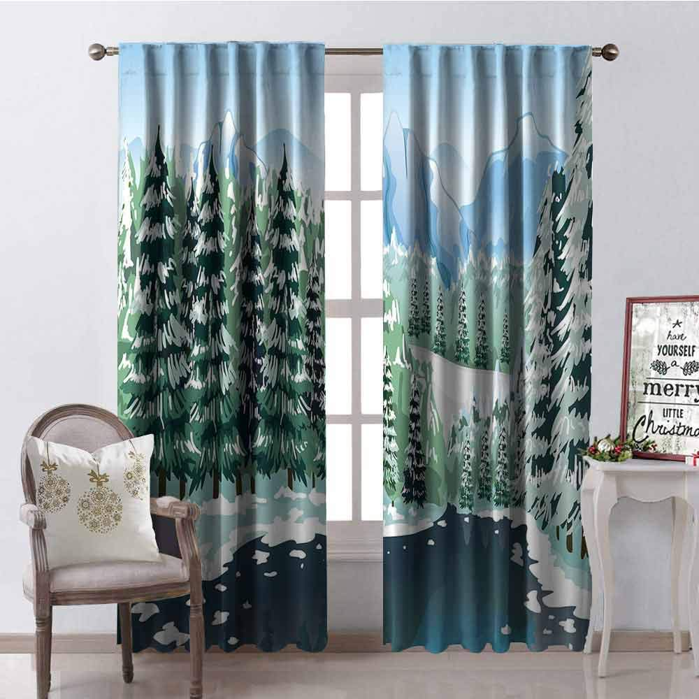 GloriaJohnson Forest Heat Insulation Curtain Wildwood in Winter Season with Snowy Mountains and Frozen River Cartoon Style for Living Room or Bedroom W42 x L63 Inch Green Blue White by GloriaJohnson