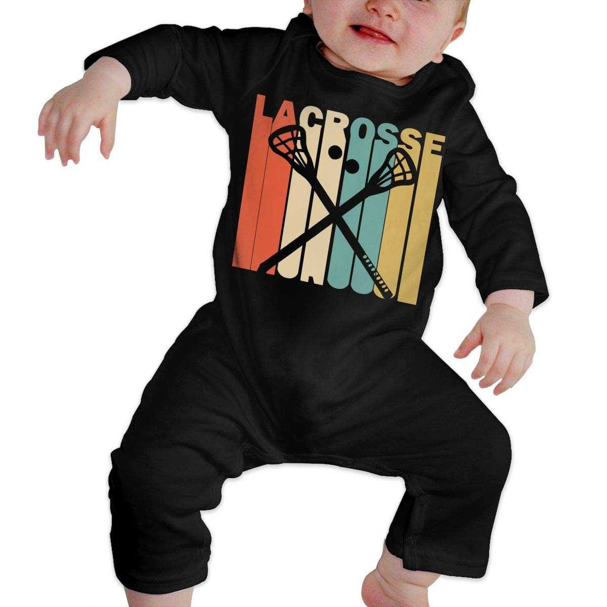 Long Sleeve Cotton Bodysuit for Unisex Baby Cute Retro Style Lacrosse Silhouette Playsuit