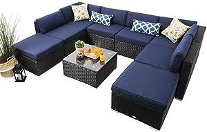 PHI VILLA Outdoor Rattan Sectional Sofa- Patio Wicker Furniture Set (9-Piece)