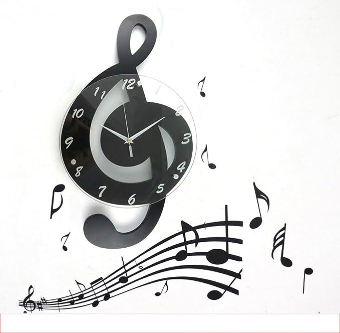 Amazon.com: wall clock Music notes living room wall clock fashion creative clock personality quartz clock garden decorative cartoon mute art clock (Color ...