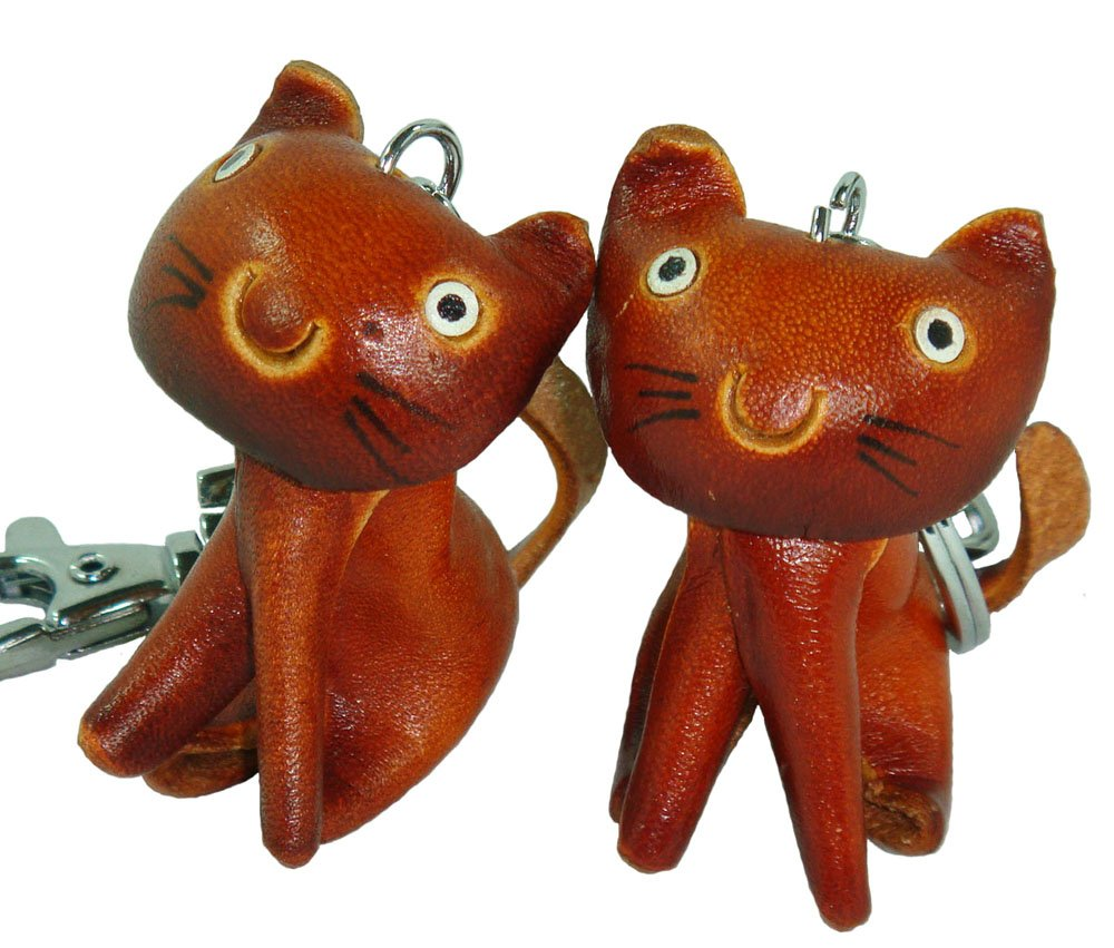 Hand made Leather Key Chain,a Pair Set of Sitting Kitty Pattern.Brown,Red,Cute!