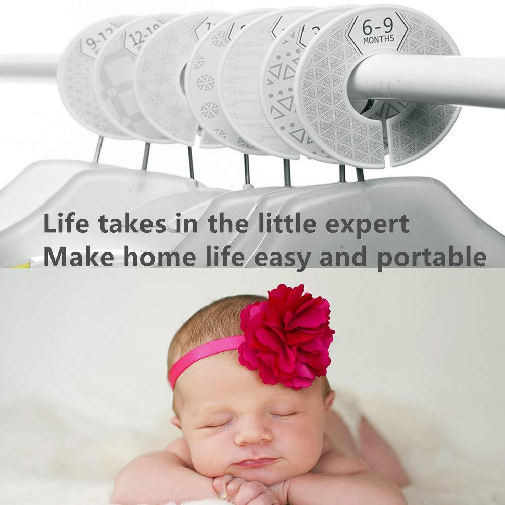 Baby Closet Size Dividers Closet Organizer Nursery Decor /& Baby Gift,Newborn to 24 Months Set of 7 Modern Grey /& White Unisex Nursery Closet Dividers