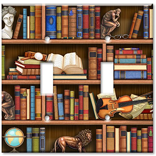 Double Gang Toggle Wall Plate - Books In Library (Double Decorative Switchplate)