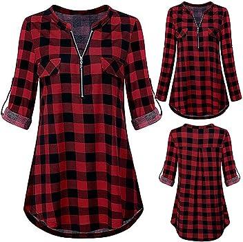 STRIR Mujer Blusa Camisa a Cuadros Mujeres Blusas Camisetas de Manga Larga con Cuello en V Camisas Casual Checker Plaid Shirt Tops (S, Rojo): Amazon.es: Ropa y accesorios