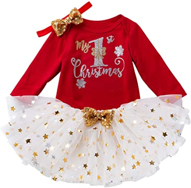Baby Girl Christmas Clothes Set Romper+Tutu Skirt+Foot Bag+Headdress Outfits