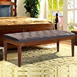 48'' Upholstered PU Leather Wood Bench Entryway Ottoman - By Choice Products