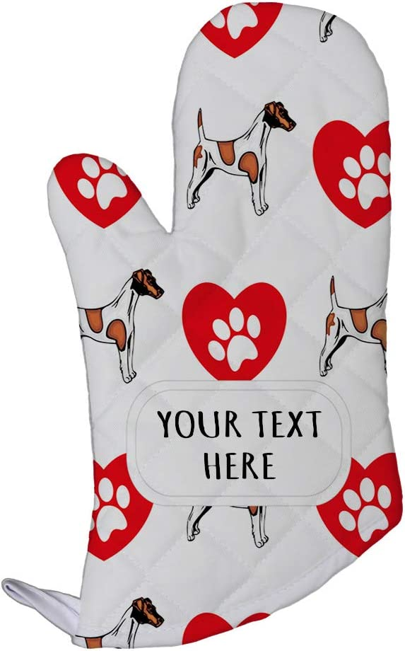 Style In Print Polyester Oven Mitt Custom Fox Terrier Smooth Dog Pattern A Adults Kitchen Mittens