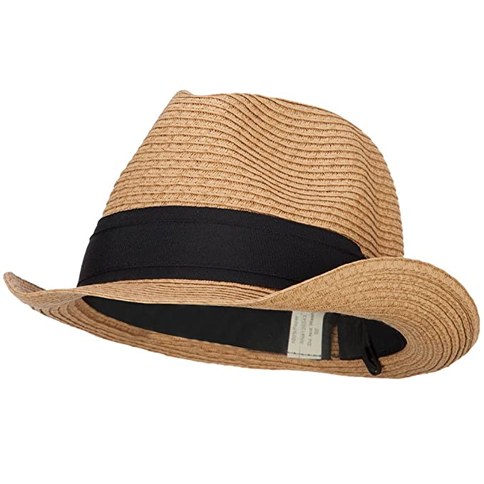 47b0d402c Jeanne Simmons Boy's Paper Braid Wide Ribbon Fedora - Bronze OSFM ...