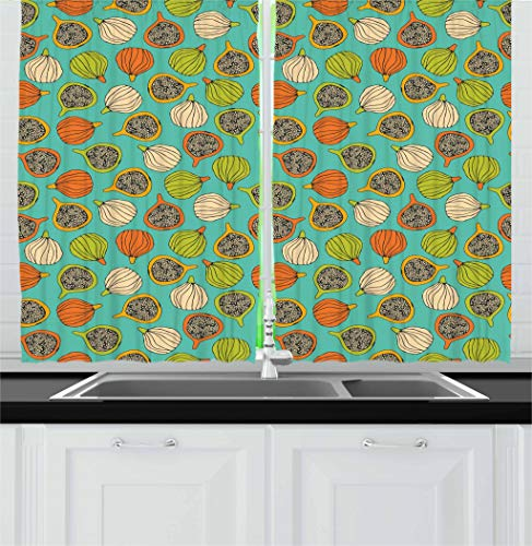 """Price comparison product image Lunarable Fig Kitchen Curtains,  Whole and Halved Fruits Vegetarian Healthy Design Colorful Retro Summer Plant Pattern,  Window Drapes 2 Panel Set for Kitchen Cafe Decor,  55"""" X 39"""",  Multicolor"""