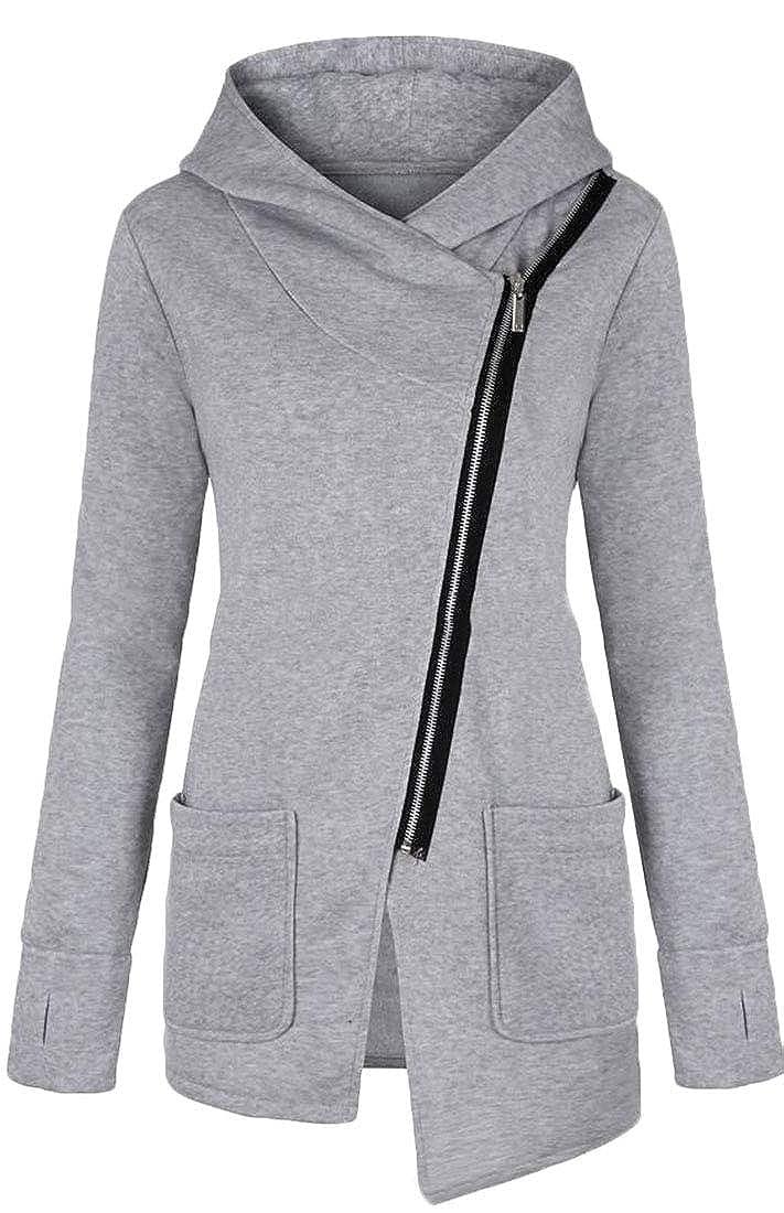 Gocgt Womens Fashion Tops Warm Oblique Zipper Hooded Sweatshirt