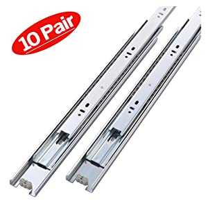 Friho 10 Pair of 22 Inch Hardware Ball Bearing Side Mount Drawer Slides, Full Extension, Available in 10'',12'',14'',16'',18'',20'',22'' Lengths
