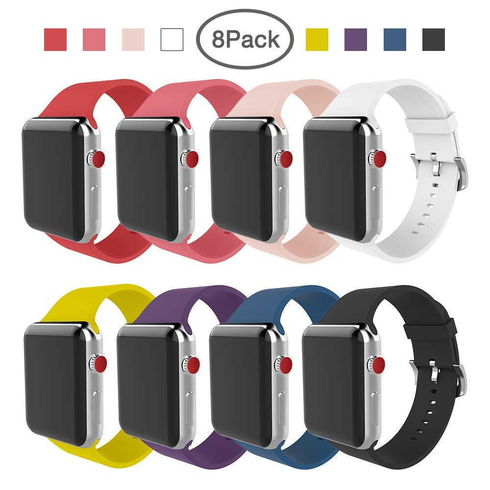 BMBEAR Compatible Apple Watch Band 38mm 42mm Soft Silicone Replacement iWatch Band for Apple Watch Series 3 Series 2 Series 1 by BMBEAR