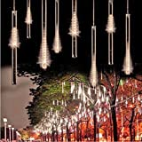 W&H-Twinkle Meteor Shower Rain Lights Waterproof 8 Tubes Icicle Snow Fall String Lights for Xmas Tree Home Garden Outdoor Decorations (11.81