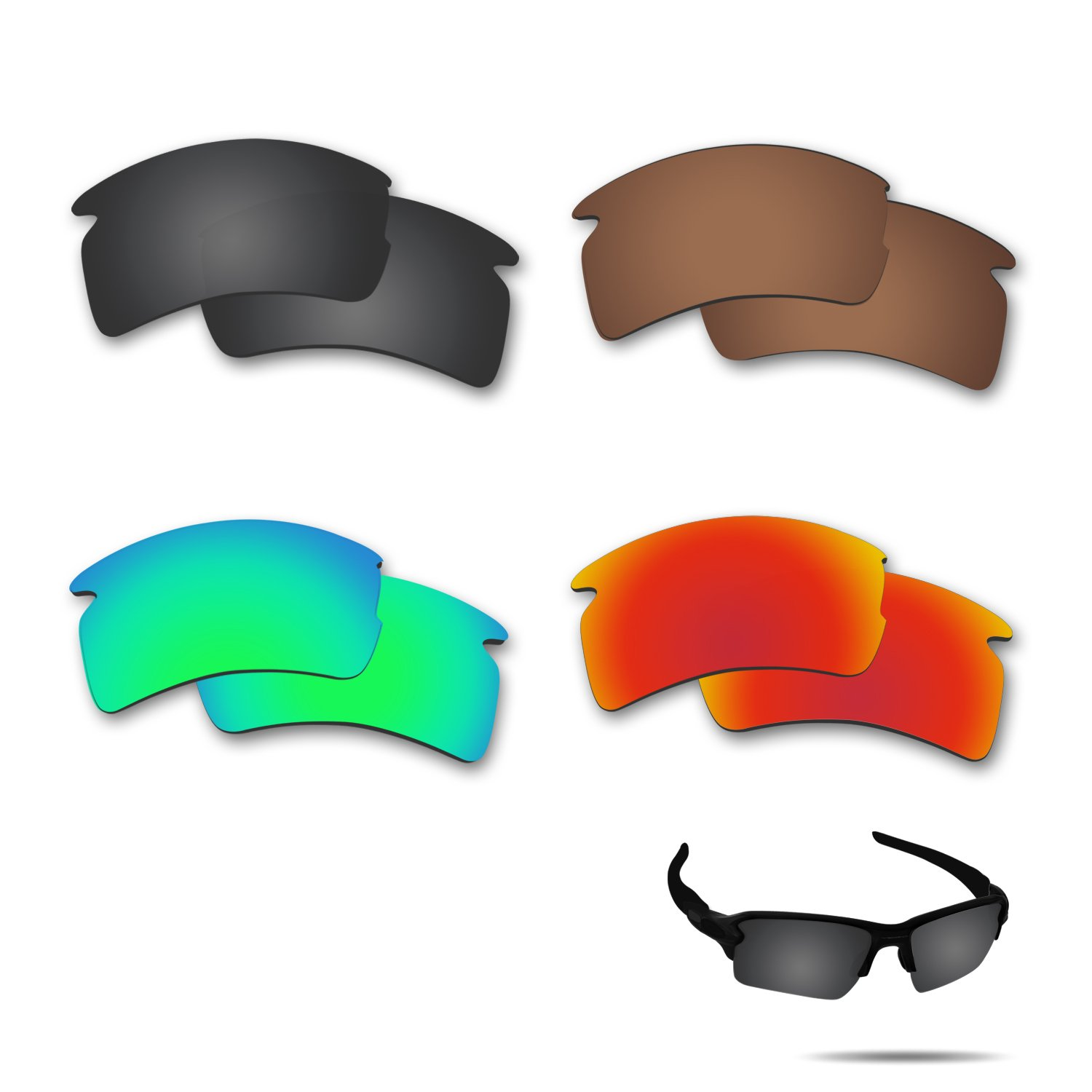 Fiskr Anti-saltwater Polarized Replacement Lenses for Oakley Flak 2.0 XL Sunglasses 4 Pairs