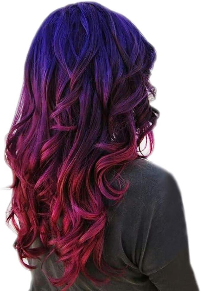 STfantasy Peluca mujer Ombre rojo azul larga rizada pelo sintético Hairpiece Daily Cosplay Halloween Crossdresser