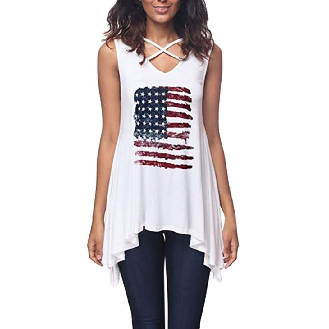 Yihaojia American Flag Printing Summer Womens Bandage Cross Sleeveless Blouse Irregular Hem Wild Slim Comfy Casual T-Shirt (White, XL)